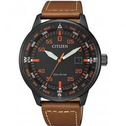 CITIZEN BM7395-11E MEN'S ECO-DRIVE BLACK IP CASE LEATHER WATCH