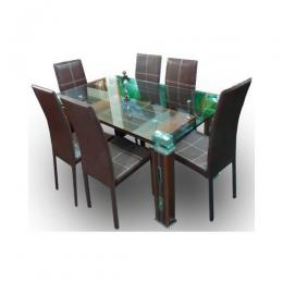 Glass Dining Set with 6 Chairs (Brown)
