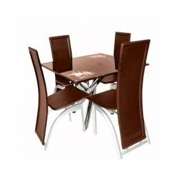 Dining Table Set with 4 Chairs (Brown)