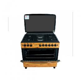 BRUHM GAS COOKER BGC-9642SN 90-60 4 GAS+2ELEC WOODEN FINISH
