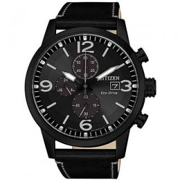 CITIZEN CA0617-29E MEN'S ECO-DRIVE CHRONOGRAPH BLACK LEATHER WATCH