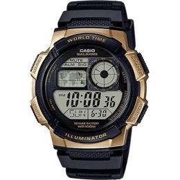 Casio AE1000W-1A3V Men's World Time Illuminator Black Gold Watch