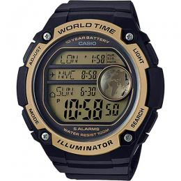 Casio AE3000W-9AV Men's World Time Digital Black/Gold XL Watch
