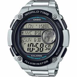 Casio AE3000WD-1AV Men's 3 City Simultaneous Time Display Bracelet XL Watch