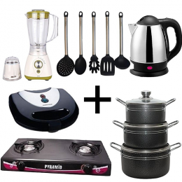 Home and Kitchen Appliances Cooking Combo Bundle – Gas Cooker, Electric Kettle, Toaster, Blender, Kitchen Spoon Set and 3 Set of Non-Stick Pot