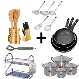 Home and Kitchen Appliances Combo Bundle - Cooking Pot Set 4 Set, Frying Pan 3 Set, Dish Rack, 5 Piece Stainless Steel Serving Spoons and Knife Set + Wooden Kitchen Utensils Set + Free Potato Peeler
