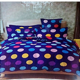 Deluxe Bedsheets With 4pillow Cases- Purple With Multicoloured Polka Dots
