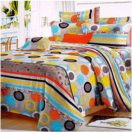 Deluxe Bedsheets With Pillow Cases - Multicoloured Ring Patterns