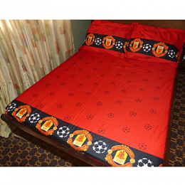 Deluxe Bedsheet, Red Patterned, Manchester United Colours