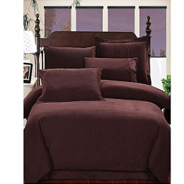 Deluxe Plain Cotton Bedsheet - Brown 6ft*6ft With Pillow Cases