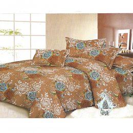 Deluxe Floral Bedsheet With 4 Pillow Cases - Brown