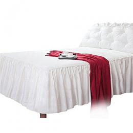 Deluxe Snowy Fitted Bed Sheet 39cm Extra Deep Frilled Valance Bedding Sheets Easy Care (White)