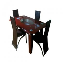Dining Table with 4 Chairs (Brown)
