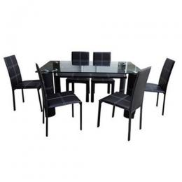 Dining Table with 6 Chairs (Black)