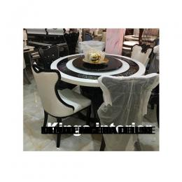 Elegant Italian Round Marble Dinning With 6 Chairs
