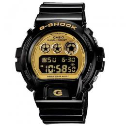 CASIO GENTS DW-6900CB-1DS G-SHOCK ANALOG-DIGITAL BLACK/GOLD DIAL RESIN BAND WATCH