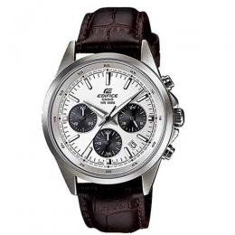 CASIO GENTS EFR-527L-7AVUDF EDIFICE CHRONOGRAPH WHITE DIAL/BROWN LEATHER SMALL SIZE WATCH