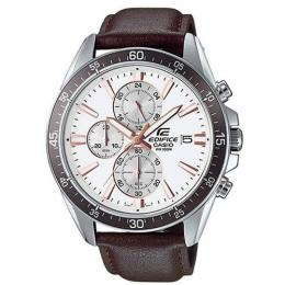 CASIO GENTS EFR-546L-7AVUDF EDIFICE CHRONOGRAPH WHITE DIAL BROWN LEATHER WATCH
