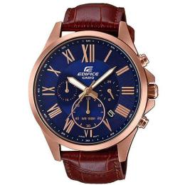 CASIO GENTS EFV-500GL-2AVUDF EDIFICE BROWN LEATHER PINK-GOLD CASE CHRONOGRAPH WATCH