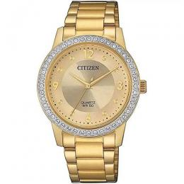 CITIZEN EL3092-86P WOMEN'S QUARTZ SWAROVSKI CRYSTALS ELEGANT GOLD WATCH