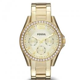 FOSSIL ES3203 WOMEN'S RILEY MULTI-FUNCTION CHAMPAGNE GOLD STAINLESS STEEL WATCH