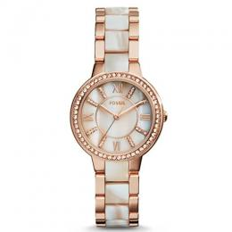FOSSIL ES3716 WOMEN'S VIRGINIA ROSE-TONE & HORN ACETATE MEDIUM WATCH