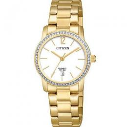 CITIZEN EU6032-85A WOMEN'S QUARTZ WHITE DIAL GOLD SMALL WATCH