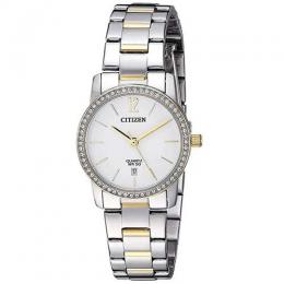 CITIZEN EU6038-89A WOMEN'S SWAROVSKI CRYSTALS DUAL TONE BRACELET WATCH