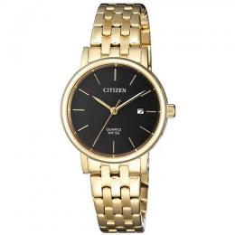 CITIZEN EU6092-59E WOMEN'S BLACK DIAL GOLD STAINLESS STEEL SMALL WATCH