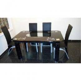 Dining Table Set with 4 Chairs (Black)