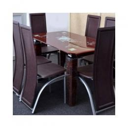 Dining Set with 6 Dining Chairs (Brown)