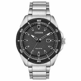 CITIZEN AW1588-57E MEN'S AR ECO-DRIVE SILVER STEEL BLACK DIAL WATCH