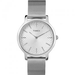 TIMEX TW2R36200 UNISEX SKYLINE SILVER ANALOG MESH STRAP SMALL SIZE WATCH