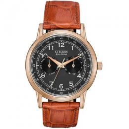 CITIZEN AO9003-08E MEN'S ECO DRIVE BLACK DIAL BROWN LEATHER WATCH