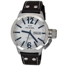 TW STEEL CE1005 MEN'S CANTEEN STAINLESS STEEL WHITE DIAL LEATHER WATCH