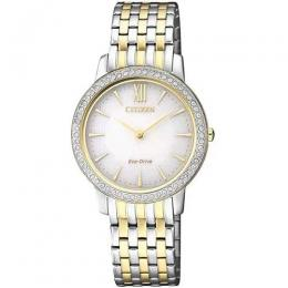 CITIZEN EX1484-81A ECO-DRIVE SWAROVSKI CRYSTAL TWO TONE BRACELET WATCH