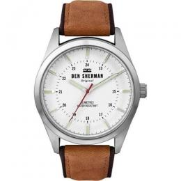 BEN SHERMAN WB027T MEN'S BASE METAL CASE BROWN LEATHER WATCH
