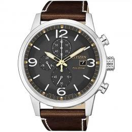 CITIZEN CA0618-26H MEN'S ECO-DRIVE CHRONOGRAPH CALF LEATHER WATCH