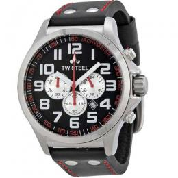 TW STEEL TW414 MEN'S PILOT CHRONOGRAPH STAINLESS STEEL BLACK LEATHER WATCH