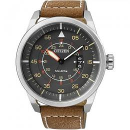 CITIZEN AW1360-12H MEN'S ECO-DRIVE AVIATOR POWER RESERVE BROWN LEATHER WATCH
