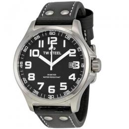 TW STEEL TW408 MEN'S PILOT STAINLESS STEEL BLACK DIAL BLACK LEATHER WATCH