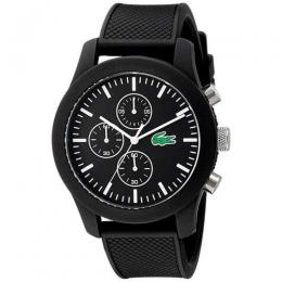 LACOSTE 2010821 MEN'S CHRONOGRAPH ANALOG BLACK SILICONE WATCH