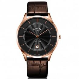 ROTARY GS08404/04 MEN'S ULTRA SLIM BROWN LEATHER WATCH