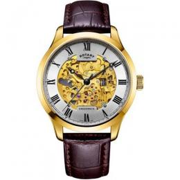 ROTARY GS02941/03 MEN'S GOLD CASE SKELETON BROWN LEATHER WATCH