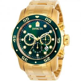 INVICTA 0075 MEN'S PRO DIVER QUARTZ CHRONOGRAPH GREEN DIAL WATCH