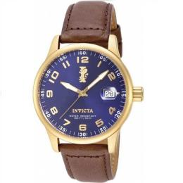 INVICTA 15255 MEN'S I-FORCE 18K GOLD ION-PLATED STAINLESS STEEL BROWN LEATHER WATCH