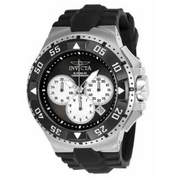 INVICTA 23045 MEN'S EXCURSION QUARTZ CHRONOGRAPH BLACK, SILVER DIAL SILICONE LARGE SIZE WATCH