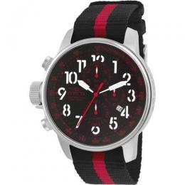 INVICTA 22845 MEN'S I-FORCE QUARTZ MULTIFUNCTION BLACK, RED DIAL FABRIC STRAP WATCH