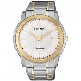 CITIZEN AW1216-86A MEN'S ECO-DRIVE WHITE DIAL TWO TONE BRACELET WATCH