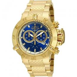 INVICTA 14501 MEN'S SUBAQUA QUARTZ YELLOW GOLD BLUE DIAL LARGE WATCH